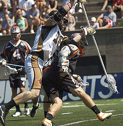Jack Reid and the Rattler defense held the weary Outlaws to just six goals (Vaughn Winchell)