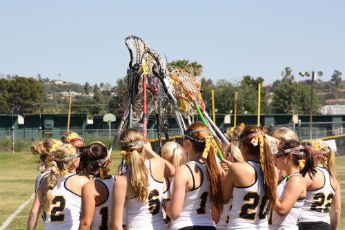Foothill Lady Knights Varsity Lacrosse before game with Cate School on Saturday.