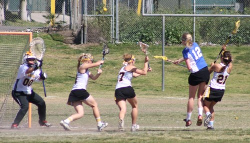 Cate School Varsity Girls Lacrosse kept the pressure on Foothill all game.