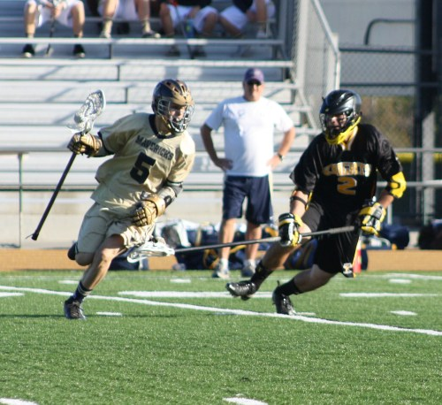 Foothill Knights JV defenseman #2 Alex Keuilian in action against La Costa Canyon's Tom Riis on Saturday