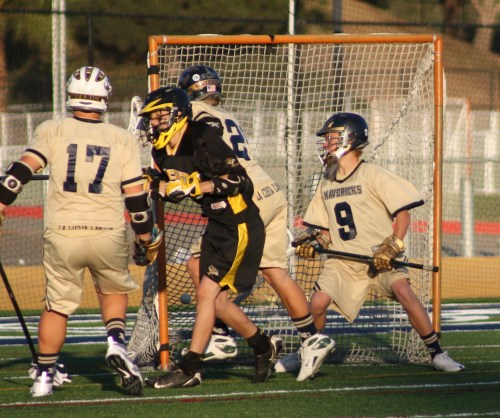 Foothill Knights JV lacrosse attack Andrew Dainko scores the first goal for Foothill at 5:15 of the 3rd quarter. Mavericks 3, Knights 1.
