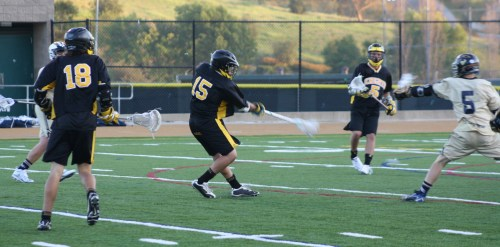 Middie #15 Daniel Castillo scores his second and the final goal of the game. Foothill 8, La Costa 4.