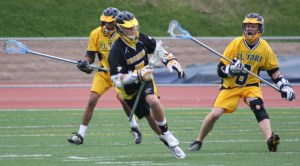 Foothill Lacrosse Sophomore Attack #7 Cameron Cole scored two goals to tie the game 4-4 against El Toro...