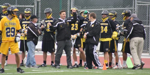 "Foothill Knights Lacrosse Coach Jon Fox: ""Tradition holds that it is a 1 goal game. In one of the oldest rivalry games in Orange County lacrosse, league foes ET and FHS had another exciting match up and it goes to show that nothing else matters when it is a rival game."" LaxBuzz Photo"