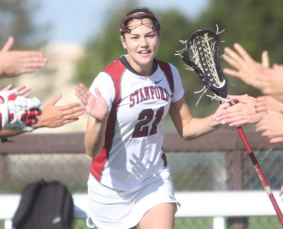 Maris Perlman tied a school record by causing five turnovers to lead the No. 14 Stanford women's lacrosse team to a 13-4 victory over rival Cal on Sunday and complete an undefeated conference season.