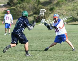 Westlake junior varsity player, Jake Crawford, shoots on goal in a recent SCLA club lacrosse game.
