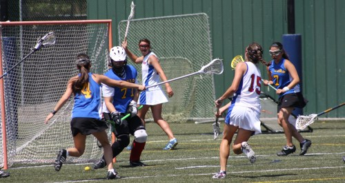 Los Alamitos Girls Lacrosse scoring against El Toro in Orange County semi-final playoff action Saturday. El Toro led 7-6 at halftime. Photo by LaxBuzz