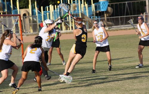 Foothill Knights Girls Lacrosse mounted a big comeback in the second half against El Toro to tie score at 11-11 in final minutes. Photo by LaxBuzz