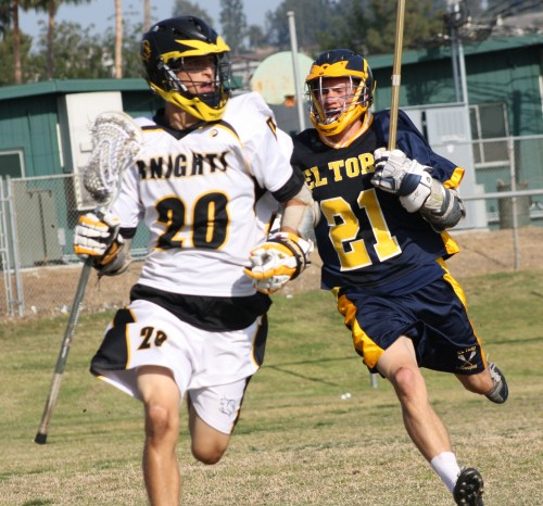 Foothill Knights Lacrosse middie Michael Upshaw was aggressive on defense and helped Foothill win groundball battle against El Toro (Photo by LaxBuzz)