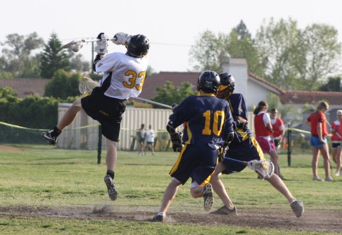 Foothill Knights JV Lacrosse attack Eric Adamson scored in the second quarter to make it 3-2 against El Toro at the half. (Photo by LaxBazz)
