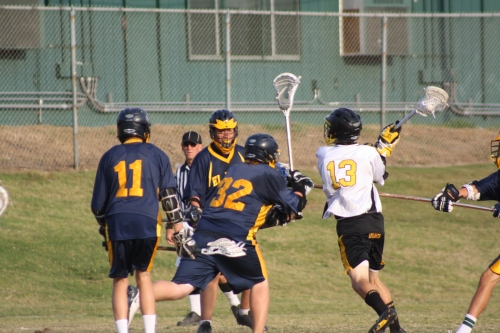Foothill Knights JV Lacrosse middie Nick Kos scored at 5:57 of the third quarter to put Knights up for good at 4-3..Photo by LaxBuzz