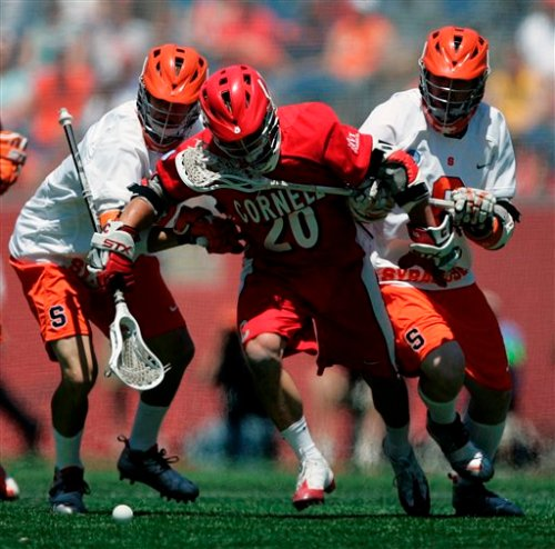 Cornell Men's Lacrosse John Glynn (#20) scored 3 goals and had 3 assists in losing effort against Syracuse who won in overtime, 10-9, in NCAA Division 1 Men's lacrosse championship game in Foxborough, Mass., Monday, May 25, 2009. (AP Photo/Michael Dwyer).