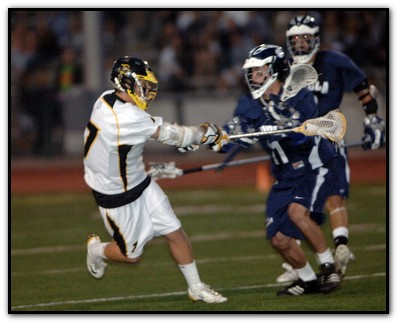 Foothill Knights Lacrosse attacker Cameron Cole (4 goals) led the Knights to a 6-3 half-time lead...Photo by Gary Campbell, NuPhoto.net