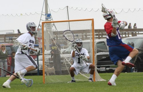 St. Ignatius middie Rob Emery scoring in the second quarter against Corona del Mar. Photo by LaxBuzz