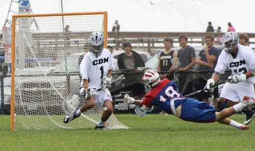"St. Ignatius Lacrosse Middie Rob Emery has size at 6'2"" and at 175 lbs. can create shots. Photo by LaxBuzz."