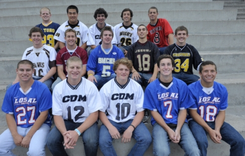 The All-County boys lacrosse first-team selections: From Row, from left to right: Kenny Smith (Los Alamitos); Noah Molnar (Corona del Mar); Ryan Mix (Corona del Mar); CJ Jacobs (Los Alamitos); Mike Marchand (Los Alamitos). Second Row, from left to right: Brett Overend (Laguna Hills); Jeremy Baileys (St. Margaret's); Jack Cranston (Santa Margarita); Brendan Yount (JSerra); Chris Cole (Foothill). Third Row: Nick Carrasco (El Toro); Richard Song (Foothill); Andrew Noto (Corona del Mar); Eddie Dainko (Foothill); Duke deLancellotti (San Clemente). MIGUEL VASCONCELLOS, THE ORANGE COUNTY REGISTER