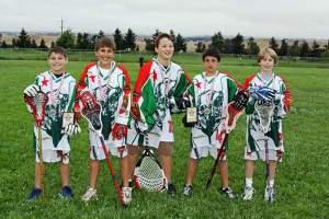 Petaluma players Tommy Buickerwood, Kyle Gomez-Flowers, Spencer Almy, Matt Salazar and Max Bechtel