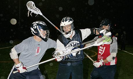 Robert Hudson playing Lacrosse with Stockport LC. Photograph: Richard Saker