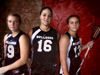 Coach Behme hopes that Sara Weber, Natalie Harrington and Margaret Wolford, each High School All-Americans from California, Oregon and Ohio respectively, can help not only build the program's reputation, and also give them an advantage on the field. Photo Illustration by Matt Weir / The Collegian