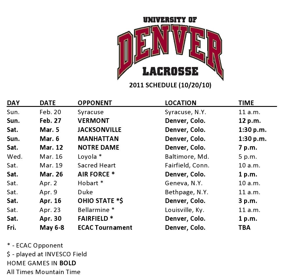 NCAA Men's Lacrosse: Denver Men's Lacrosse Announces 2011