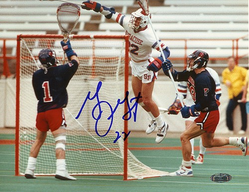 "The Air Gait: ""...Gary charged the back of the net... His last contact with terra firma occurred just outside the crease. As he hurtled past the goal, Gary reached his stick around the goal and deftly whipped the ball in. He touched down inside the crease, but it was no violation because the play had ended when the ball broke the plane of the goal."