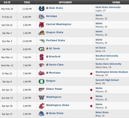 Idaho Lacrosse Schedule