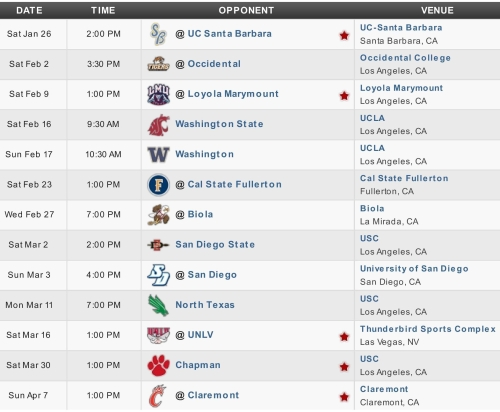 USC men's lacrosse 2013 schedule