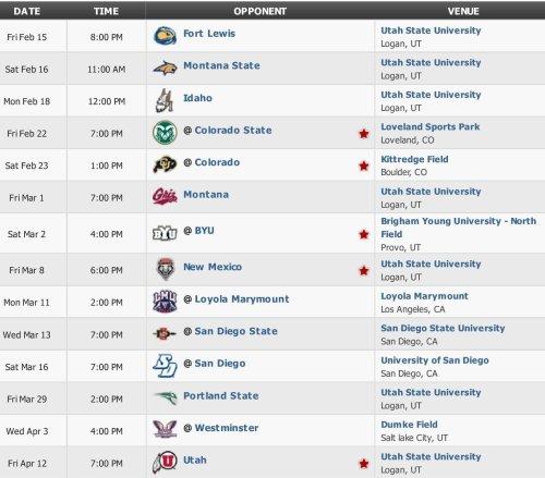 Utah State Men's Lacrosse 2013 Schedule