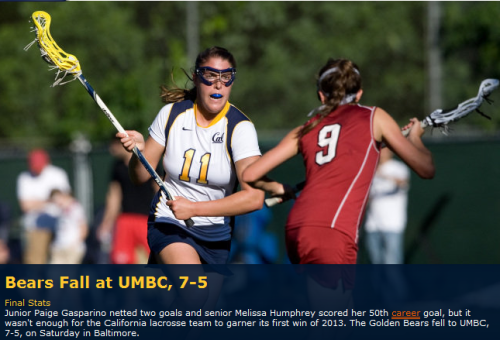 Cal Berkeley Women's Lacrosse vs UMBC