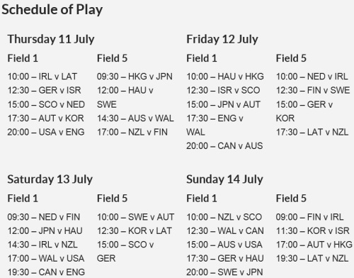 2013 FIL Women's Lacrosse World Championship Schedule of Play 1