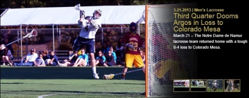 Colorado Mesa Men's Lacrosse vs Notre de Namur 1