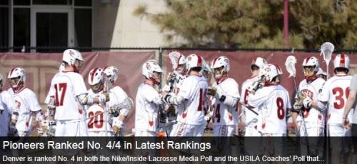 Denver Men's Lacrosse Ranked #4