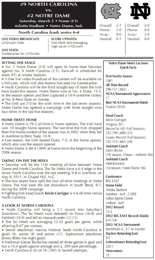 Notre Dame Men's Lacrosse vs North Carolina-page-001