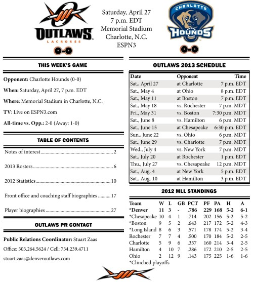 Denver Outlaws at Charlotte Hounds game notes-page-001