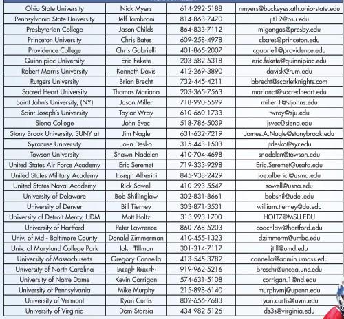 NCAA Div I Men's Lacrosse Coaches Directory 2