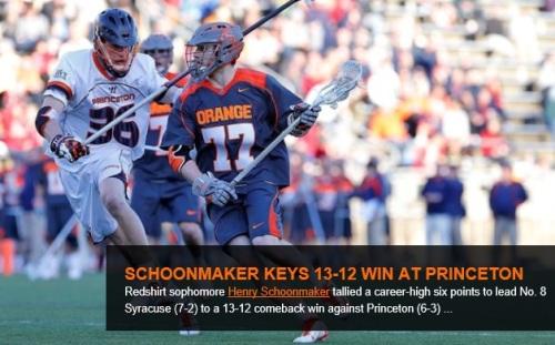 Syracuse Men's Lacrosse Henry Schoonmaker vs Princeton