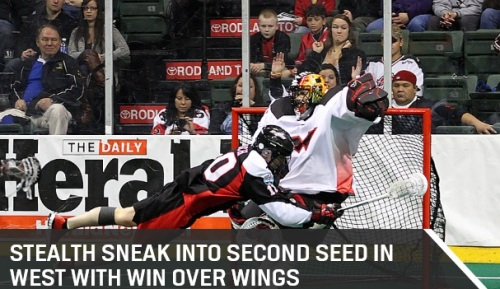 """The Washington Stealth (9-7) clinched the second seed in the West Division and a home playoff game by riding a nine-point effort by Rhys Duch for a 17-13 win over the visiting Philadelphia Wings (7-9) at Comcast Arena on Saturday night. """"Goal number one was obviously making it into the playoffs,"""" said Stealth head coach Chris Hall. """"But goal number two was playing in front of our home fans in our home building so that's two down but still some more to go."""" With the win, the Stealth finished with a winning record for the first time since they finished at 10-6 in 2010, when they later went on to win the NLL Champion's Cup. With the loss, the Wings slipped to the third seed in the East and will travel to Rochester for the first round of the playoffs next weekend. Duch finished the game with four goals and five assists, his second highest point total of the 2013 season. Duch ended the regular season with 45 goals in 2013 to win the first NLL goal scoring title of his five-year career. """"Accolades are awesome,"""" Duch said. """"It's great to be rewarded and recognized for your successes and obviously scoring goals is something that I take pride in. So it's a cool feeling to win that award but I score goals to help my team win."""" After hitting a wall after a hot start to the season, Cliff Smith ended the season on a high note by finishing the night with two goals and five assists to cap off a career year for the lefty."""