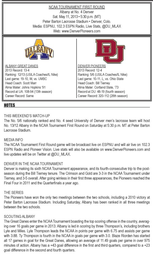 Denver Men's Lacrosse vs Albany Game Notes-page-001
