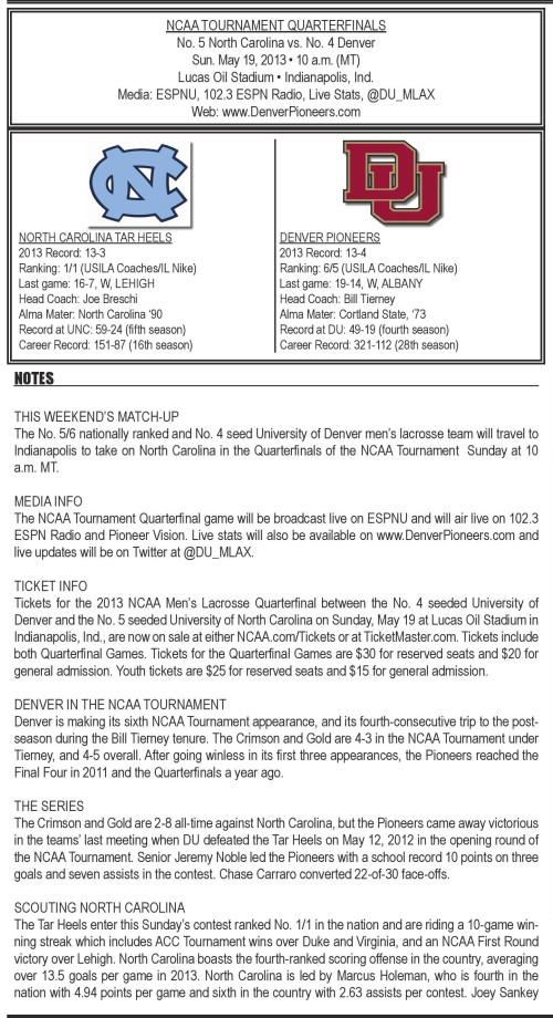 Denver Men's Lacrosse vs North Carolina 2013 NCAA Men's Lacrosse Championships game notes-page-001