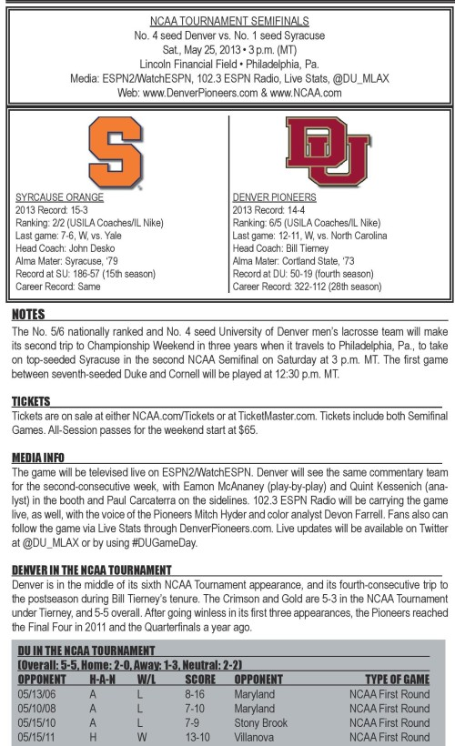 Denver Men's Lacrosse vs Syracuse 2013 NCAA Men's Lacrosse Championships Semifinals game notes-page-001