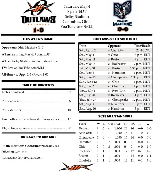Denver Outlaws vs Ohio Machine game notes-page-001