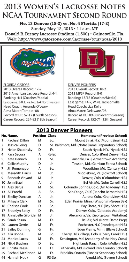 Denver Women's Lacrosse vs Florida 2013 NCAA Lacrosse Championships game notes-page-001