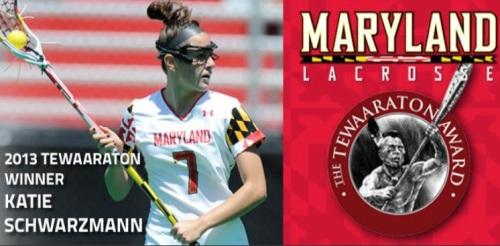 Maryland Women's Lacrosse Katie Schwarzmann 2013 Tewaaraton Winner