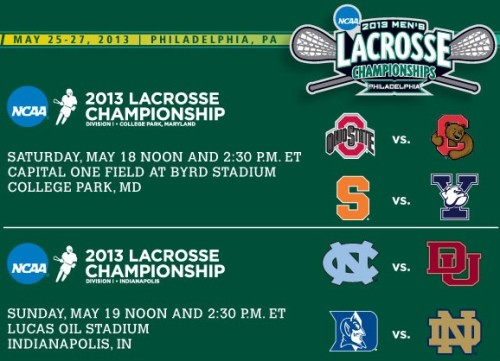 2013 NCAA Men's Lacrosse Championships Quarterfinals Schedule