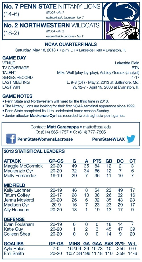 Northwestern Women's Lacrosse 2013 NCAA Women's Lacrosse Championships vs Penn State game notes-page-001