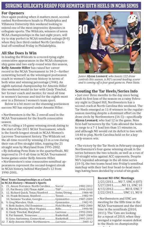Northwestern Women's Lacrosse vs North Carolina NCAA Semifinals game notes-page-001