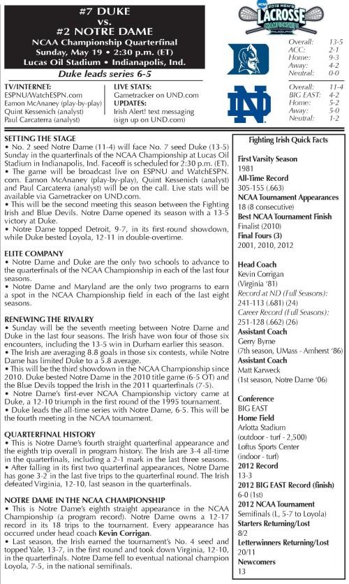 Notre Dame Men's Lacrosse vs Duke 2013 NCAA Men's Lacrosse Championships game notes-page-001