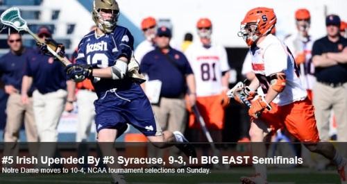 Notre Dame Men's Lacrosse vs Syracuse Big East