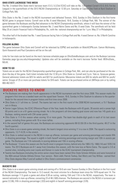 Ohio State Men's Lacrosse 2013 NCAA Lacrosse Championships vs Cornell game notes-page-001