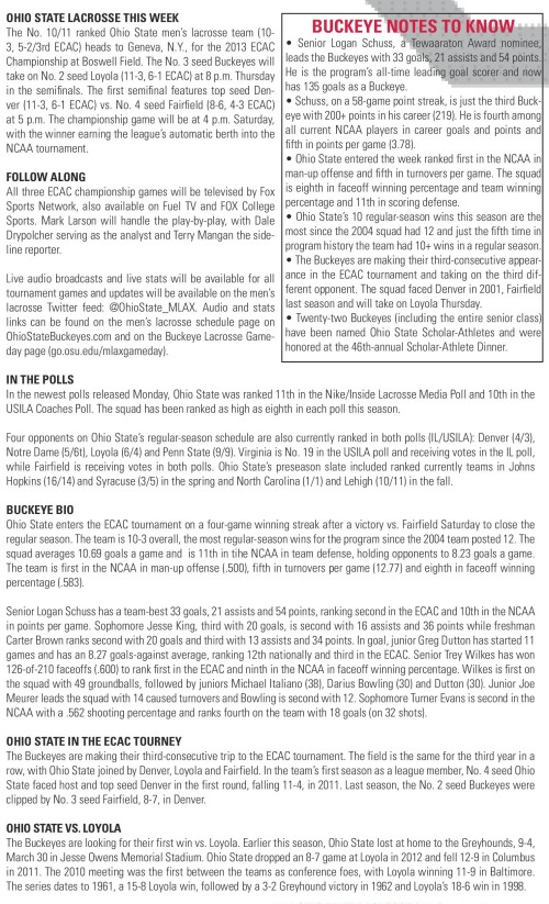 Ohio State Men's Lacrosse vs Loyola game notes-page-001